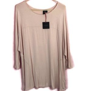 Cynthia Rowley 3/4 Sleeve Knit Top Pale Pink 2X